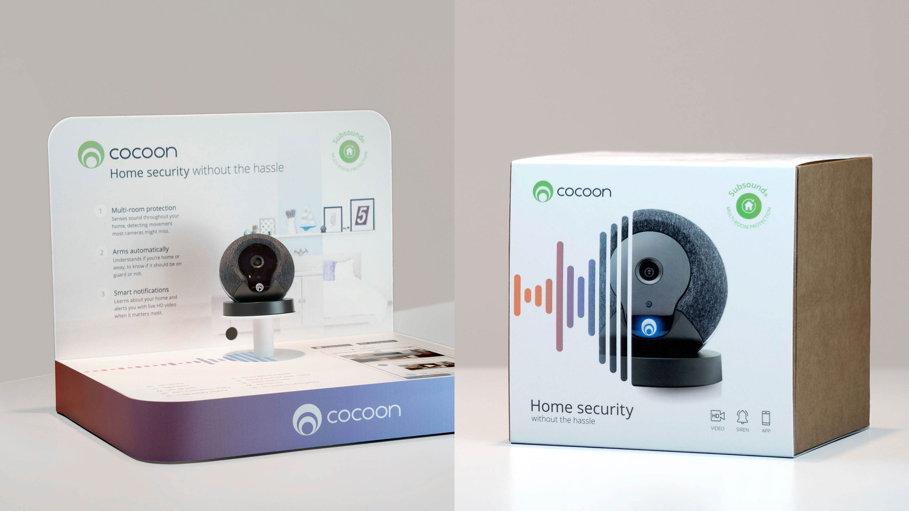 New Cocoon packaging next to POS display